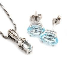 topaz earrings sterling silver aquamarine and diamond necklace and blue topaz