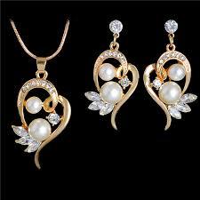 aliexpress heart necklace images Zoshi elegant gold color jewelry set zircon heart pendant jpg
