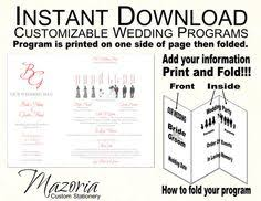 folded wedding program template 4x9 any color printable wedding program sided template