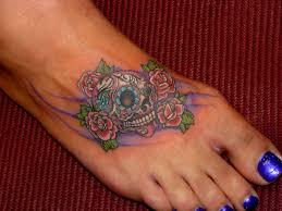 sugar skulls and flowers for skull tattoos