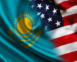 Kazakhstan Flag With The Eyes Of Almaty Residents And Americans