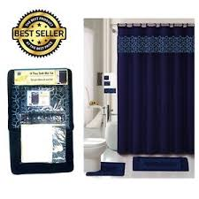Navy Bath Mat 18pcs Bathroom Set Contour Rug Bath Mat Shower Curtain