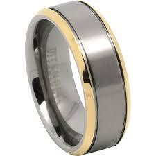 titanium men mens titanium ring with gold edge