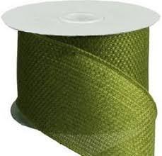 burlap wired ribbon faux burlap moss green ribbon 2 5 x 10 yds