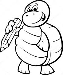 turtle with pencil coloring page u2014 stock vector izakowski 58389969