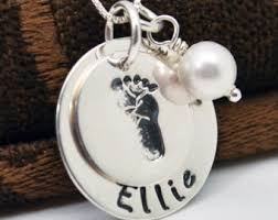Baby Personalized Jewelry Footprint Necklace Etsy