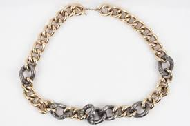 chunky necklace chain images Lanvin gold and silver metal gourmette necklace chunky chain link JPG