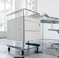 bureaux en verre caisson de bureau en verre à 3 tiroirs à roulettes