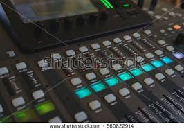 sound design equipment closeup management console sound stock photo