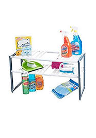 Kitchen Sink Shelf Organizer by Amazon Com Stalwart Adjustable Under Sink Shelf Organizer Unit
