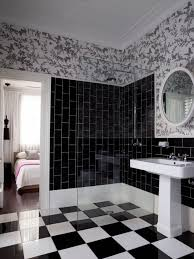 vintage bathroom with black tils and wallpaper home decor vintage bathroom with black tils and wallpaper simple white tile designs give
