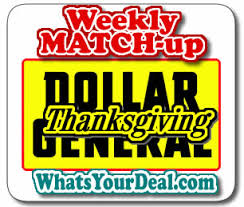 dollar general coupon matchup thanksgiving day only 11 26