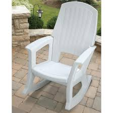 Rocking Chair Semco Plastics 600 Lb Capacity White Resin Outdoor Patio Rocking
