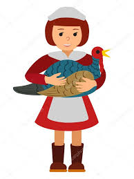 thanksgiving day celebrations vector illustration cute little holding a big turkey isolated