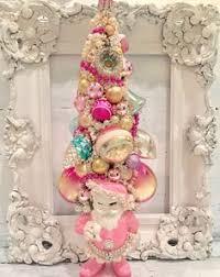 vintage ornaments bottle brush tree lefton spaghetti poodle pinks