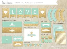 Bridal Shower Decor by Bridal Shower Decorations Printable Mint Green U0026 Gold