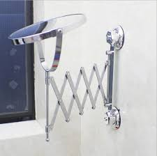 Suction Bathroom Mirror Up Wall Mounted Telescoping Folding Two Side 3x