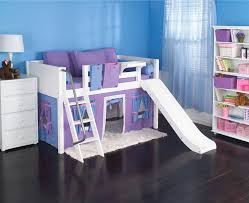 Purple Bunk Beds Playhouse Low Loft Bed W Slide By Maxtrix Purple Blue On