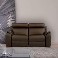 Uk Leather Sofas Calia Italia Serena 2 Seater Power Recliner Brown Italian Leather