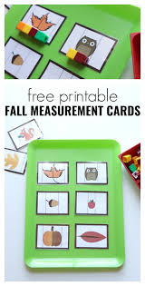 thanksgiving flash cards fall measurement cards for preschool free printable fall math