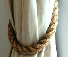Rope Curtain Tie Back Rope Drapery Tiebacks Burlap Flower Tie Backs Burlap Flower