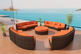 Viro Wicker Patio Furniture Eclipse Round Outdoor Sectional Sofa Set - Round outdoor sofa