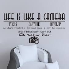 unique creative removable life is like a camera quote wall unique creative removable life is like a camera quote wall stickers decals office study decoration mural