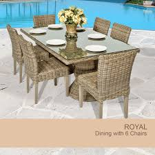 royal vintage stone rectangular outdoor patio dining table with 6
