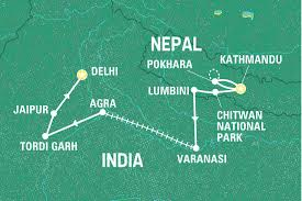 Map Nepal India by Epic Nepal To India India Tours Geckos Adventures Us