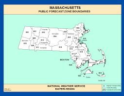 Massachusetts State Map by Maps Massachusetts Zone Forecast Boundaries