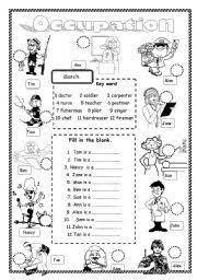 esl kids worksheets occupation