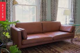 Repaint Leather Sofa Before U0026 After Diy Painted Leather Sofa Project Apartment Therapy