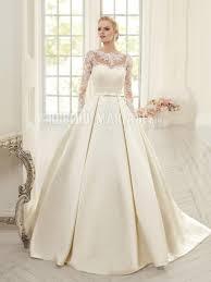 robe de mari e satin robe de mariée princesse 2017 en dentelle manches longues et satin