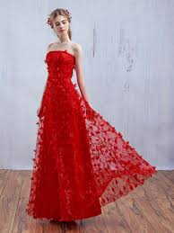 graceful for canada red strapless 3d floral lace up back