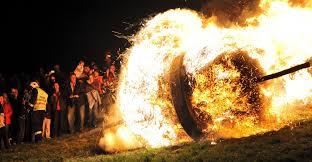 burning oak wheel rolling easter traditions pictures easter