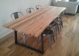 Maple Table And Chairs Custom Live Edge Wormy Maple Dining Table With Tapered Raw Steel