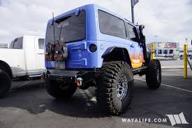 blue jeep 2 door 2016 sema daystar 2 door stretched jeep jk wrangler