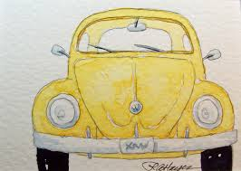 old volkswagen yellow watercolor bug by rose ann hayes my husband drove a car like this