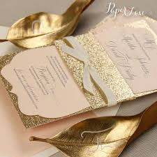 beautiful personalised gold glitter band day wedding invitation