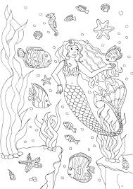mermaid and fishes by olivier water worlds coloring pages for