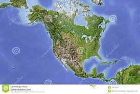 map usa central america and central america shaded relief map stock illustration