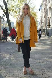 women u0027s mustard coat beige cable sweater white dress shirt