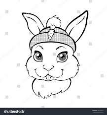 cute bunny boy cap outline illustration stock vector 506394619