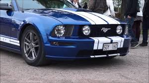 white mustang blue stripes blue and white striped ford mustang gt drive by