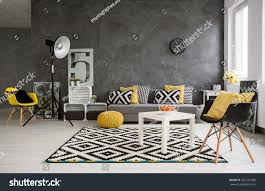 stylish spacious living room grey walls stock photo 427241290