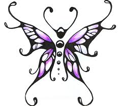 purple butterfly and flowers design