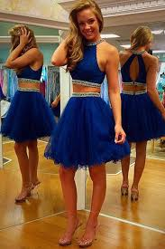 elegant two piece prom dress royal blue knee length backless tulle