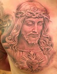 jesus chest tattoos barbed jesus on chest fresh