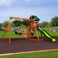Playsets Outdoor Backyard Discovery Prescott Cedar Wooden Swing Set Walmart Com