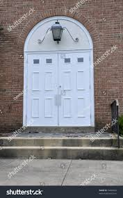 Church Exterior Doors by Double White Entry Doors Red Brick Stock Photo 35499622 Shutterstock